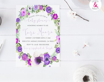 lavender baby shower purple boho flowers printable girl baby shower invitation