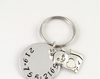 "Pet Tag, Personalized cat Tag, Custom cat Tag, Pet ID Tag - Lost catTag, Tag for kitten 1"" custom hand stamped tag"