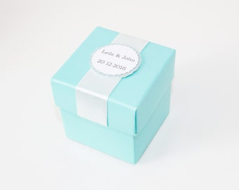 Turquoise Blue Favor Box, Square Favor Box, Personalized Favor Boxes, Wedding Favor Boxes, Birthday, Baby Shower, Cupcake Boxes, 10 boxes