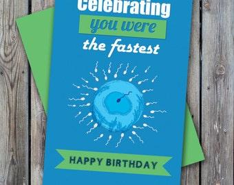 Funny birthday card, sperm birthday card, hilarious birthday card, printable birthday card, instant download birthday