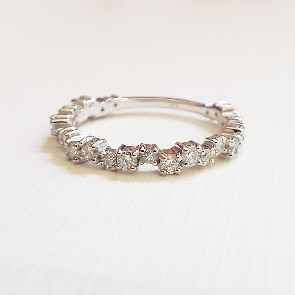 Unique Diamond Eternity Stacking band 14k Diamond Promise ring Engagement ring Diamond eternity stacking ring