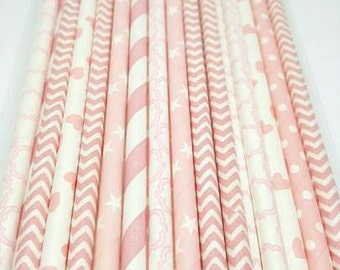 Baby pink straw variety. Wild one party supplies. Baby shower straws. Baby blue straws. Baby shower. Baby sprinkle decor