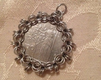 100 Lire Coin Pendant with Chainmaille Bezel