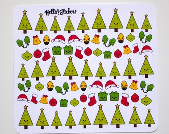 Christmas Kawaii Stickers! Christmas Tree Stickers, Ornaments, Planners, (ECLP) Erin Condren, Holiday Stickers, Mittens, Christmas Stockings