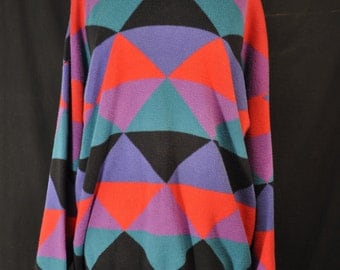 Vintage Oversized Color Block Sweater 90s Grunge Cosby Retro 100% Cotton