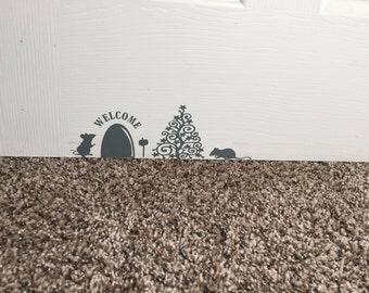 Christmas Mouse House Wall Decal