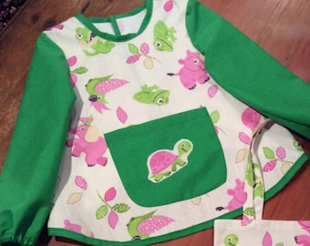 Art Smock With Sleeves,Pink & Lime Green, Cute Baby Animal Design, Girls, Quality Hand Made