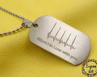 Personalized JewelryNecklace Keychain Army Tag Engraved Gift, Gift for her, Birthday Gift, Memorial Keepsake