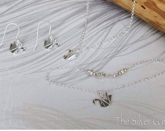 Origami Silver Swan Jewellery Set, Swan Earrings, Swan Necklace, Swan Bracelet, Origami Jewellery, Origami Swan Jewellery, Anniversry Gift