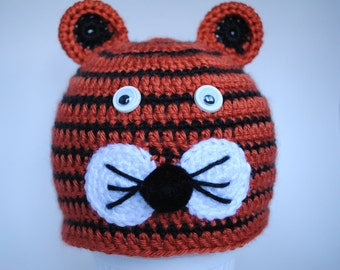 Crochet Baby Tiger Hat, Striped Newborn Hat, Childs Tiger Hat,