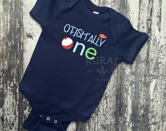 "O ""Fish"" ally One Bodysuit,  First Birthday, First Birthday Outfit, one year, ofishally, first birthday boy, 1st Birthday, fishing birthday"