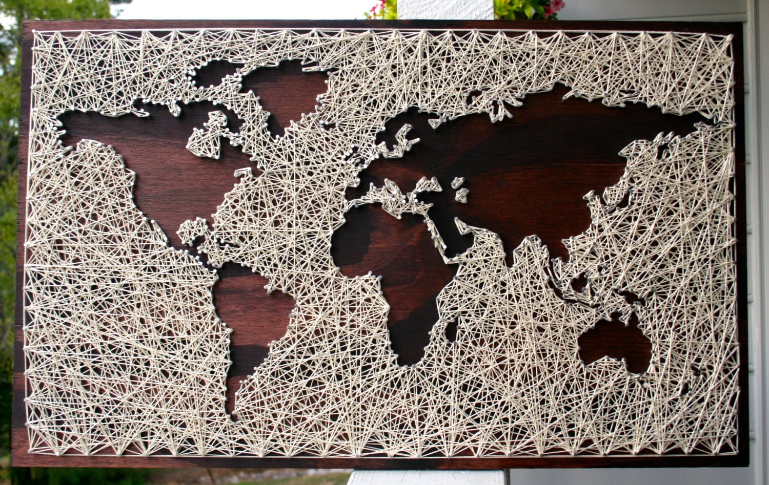 World map wall art string art map world map art map wood - String art modele ...