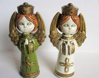 1/2 PRICE SALE~Two Paper Mache Vintage Angels~Christmas Angels Praying Figurines Statues Gold Wings JapaRetro Christmas Decorations