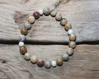 Healing Bracelet- Crazy Lace & Bone