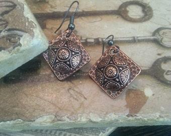 Vintage copper & black button earrings