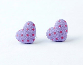 Valentines gift ~ Purple earrings ~ Heart earrings ~ Purple stud earrings ~ Heart jewelry ~ Purple jewelry ~ Cute earrings studs for girls