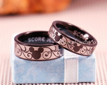 Couple Set 2 Rings Black Tungsten Bands with Flat Edge Mickey Mouse Design Pattern Rings - 8mm & 6mm Tungsten Rings