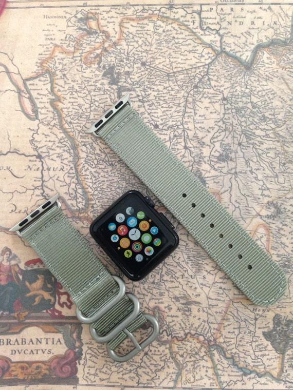 Apple watch original, series 1, series 2 band: Zulu strap (silver rings) 2-piece (Gray) 42mm & 38mm, Free Shipping Worldwide!