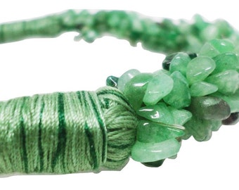 Hand Wrapped Green Aventurine Natural Stone Necklace