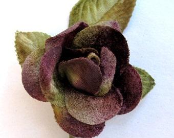 antique purple velvet rose. millinery rose. velvet rose.