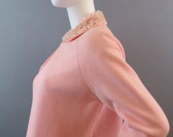 Sale Vintage 1960s bubble gum pink sequin trim sweater set
