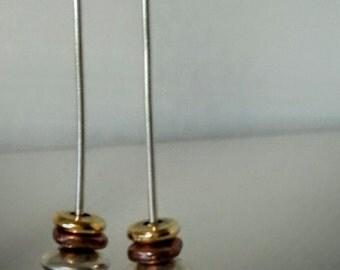 Long Silver Brass Earrings