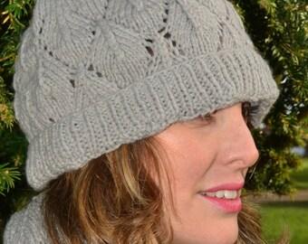 Soft grey baby alpaca wool hat