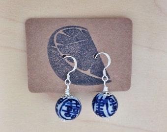 Blue and white porcelain beaded earrings /  simple blue Chinese ceramic bead earrings / minimalist Delft dangle earrings / modern earrings