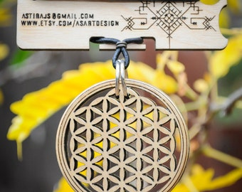 Flower of Life Necklace - Laser Cut Maple