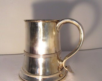 Antique vintage Silver Mug (plated silver) with wooden base