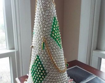1960s Kitsch pearl sequin beaded Christmas tree tabletop centerpiece
