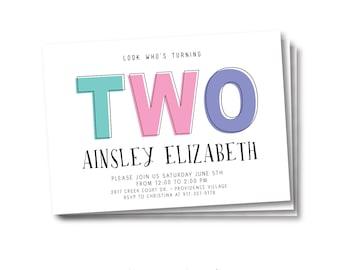 Who's Turning Two Birthday Invitation, digital printable file, Modern Boy or Girl Invite