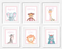Set of 6 Safari animal prints, Pink and white nursery, Elephant picture, Baby animals nursery, Safari theme prints, girls nursery art #231A