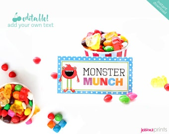Instant Download Monster Printable Party Buffet Cards, EDITABLE Monster Tent Cards, Monster Party Printable Buffet, Monster Mongrels Buffet