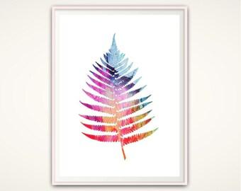 Fern Print - Watercolor Leaves,  Nature Art, Leaf Print, Tropical Leaf, Botanical Print, Leaf Wall Art, Gallery Wall Art, PRINTABLE Poster