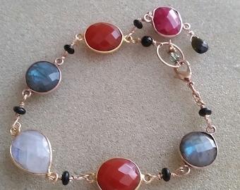 Multi Stone Bracelet in 14k GF