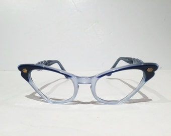 Vintage Blue Selecta Cat Eye Eyeglasses, New Old Stock, Two Tone Blue Cateye Glasses Frames, NOS, Selecta French Cateye Eyewear, Rockabilly
