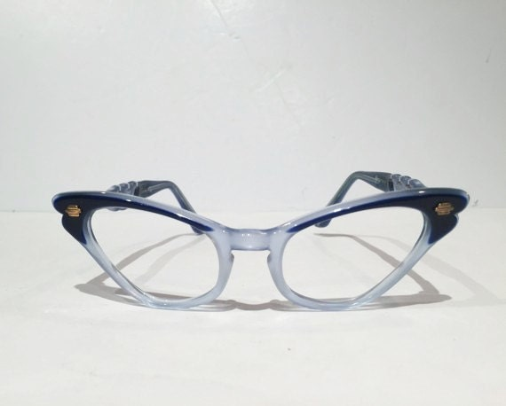 Vintage Blue Selecta Cat Eye Eyeglasses New Old Stock Two