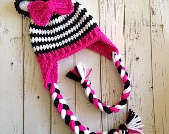 Zebra Hat, Baby Animal Hat, Baby Girl Animal Hat, Baby Girl Zebra, Newborn Zebra Hat, Zebra Photo Prop, Animal Hats for Babies, READY 2 SHIP