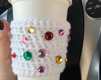 Rainbow Rhinestones on Yarn Knit Travel Cup Mug Cozies