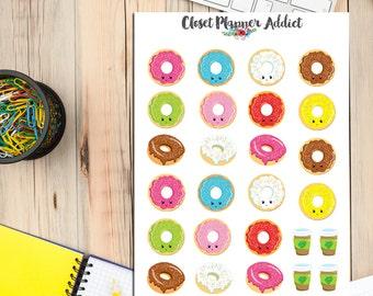 Kawaii Doughnuts Planner Stickers (S-018)