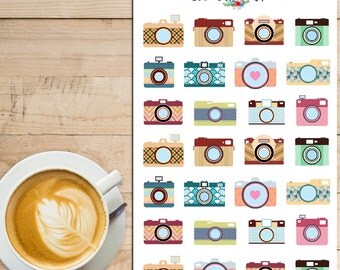 Vintage Colourful Cameras Planner Stickers (S-060)