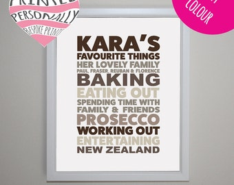 Favourite things personalised print - Personalised my favourite things print - Typography art - Home decor - Modern print