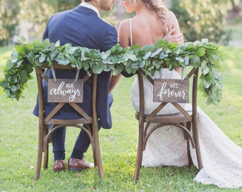 Wedding Chair Signs // chair signs // wedding signage // wedding signs // custom wedding chair signs // hand lettered wedding signage
