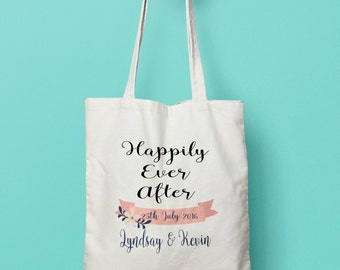 Happily Ever After Personalised Wedding Tote. Bride. Bridal Party. Bride to be