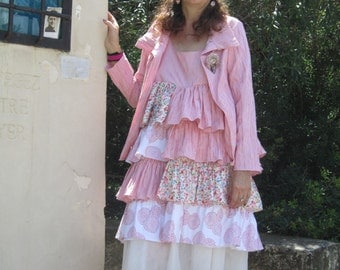 Ruffle dress, red, white floral, cotton, shabby chic and romantic, mori, nadir bears