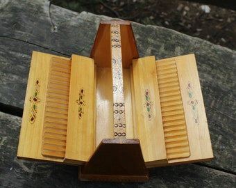 Cigarette Box - Wooden Cigarette Dispenser - Vintage Cigarette Holder - Keepsake Box Made in Bulgaria - Gift for Smokers - Folk Art -NarMag