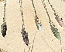 Crystal Necklace pendant Wire wrapped stone jewelry Boho Hippie Rose Quartz Amethyst Opalite Black Onyx Healing Crystal Bohemian Jewelry