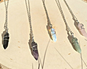 Crystal Necklace pendant Wire wrapped stone jewelry Boho Hippie Rose Quartz Amethyst Opalite Black Onyx Healing Crystal Bohemian Jewelry