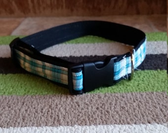 Blue and White Plaid Dog Collar